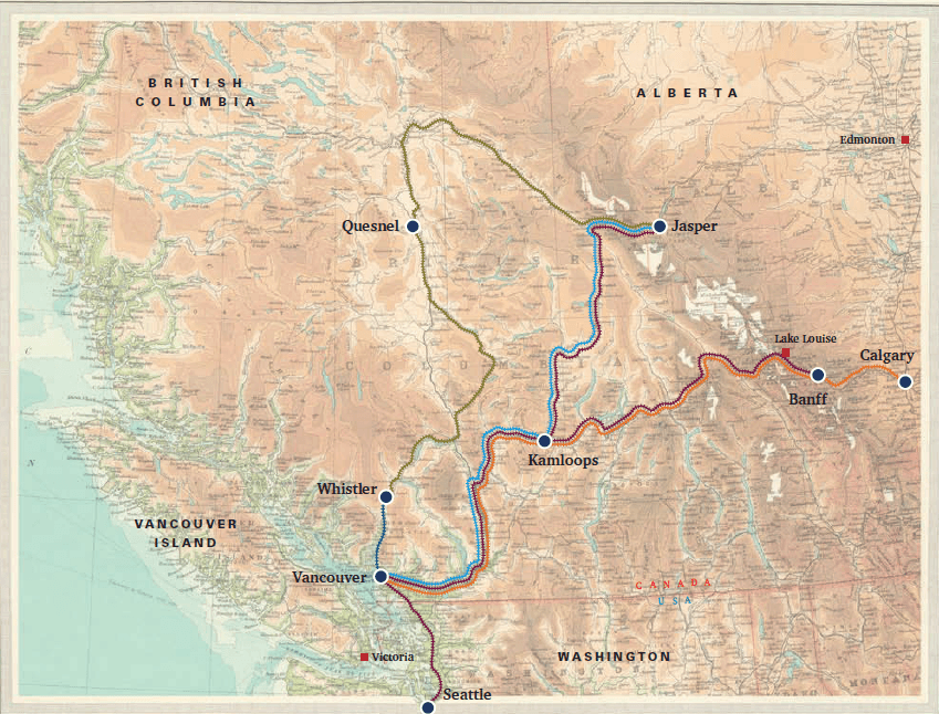 Rocky Mountaineer Train Route Map